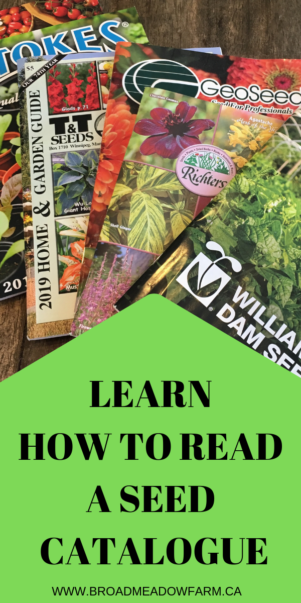 learn to read the legend and plant codes in seed catalogues